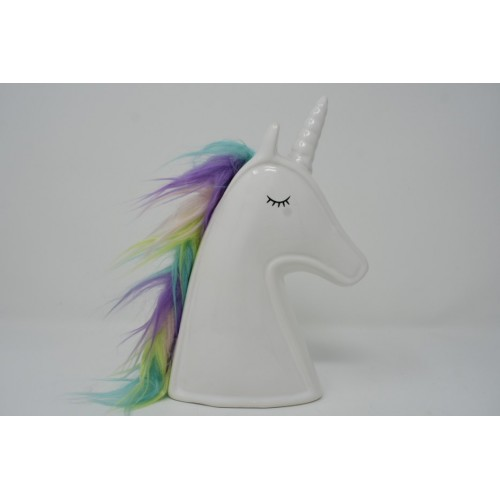 Unicorn Head Money Box with a White Horn