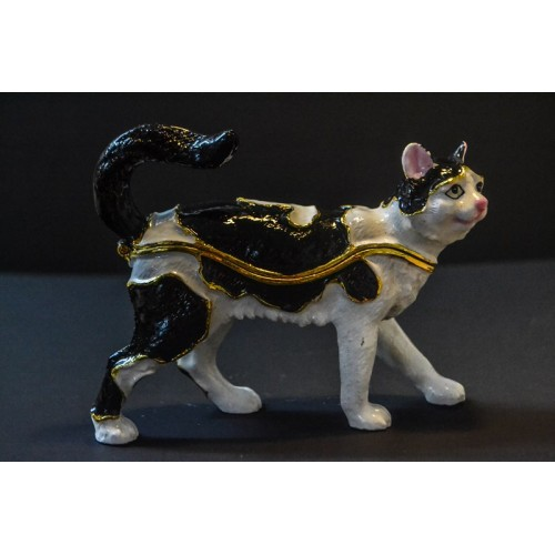 Black & White Cat Trinket Box